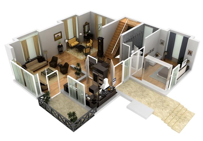 Free 3d basement design basements reno finished in 2 weeks for Floor plan 3d house building design