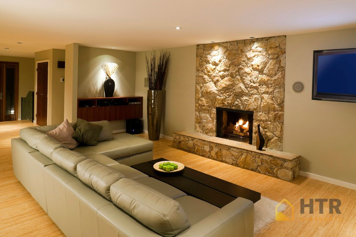 Basement Finishing - Stone Walls with Fireplaces