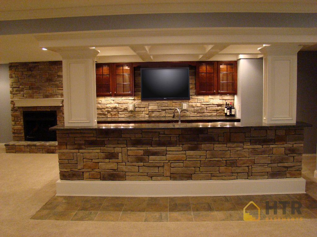 Basement Finishing - Stone Backspash and Stone Bars