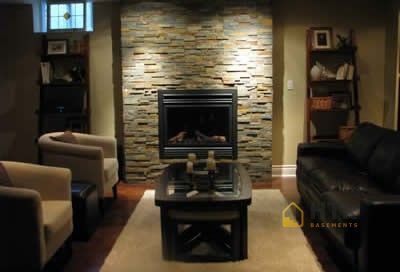 Basement Finishing - Stone Wall with Fireplace